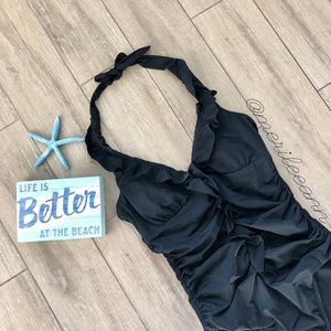 Spanx Long and Lean Swimsuit Black Maillot